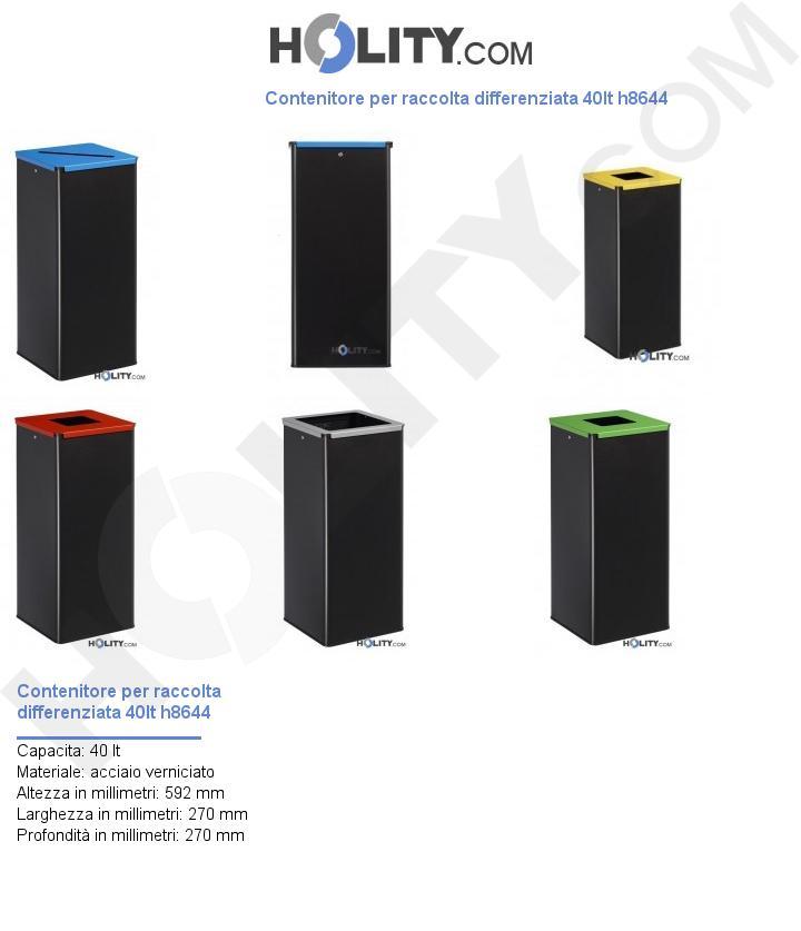 Contenitore per raccolta differenziata 40lt h8644