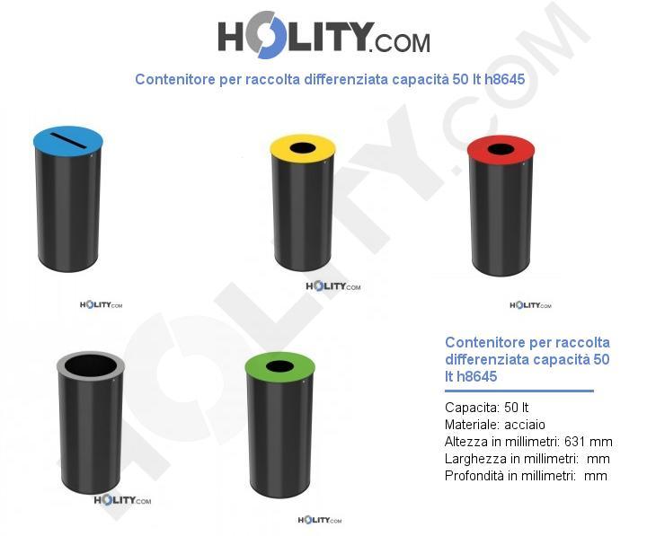 Contenitore per raccolta differenziata capacità 50 lt h8645