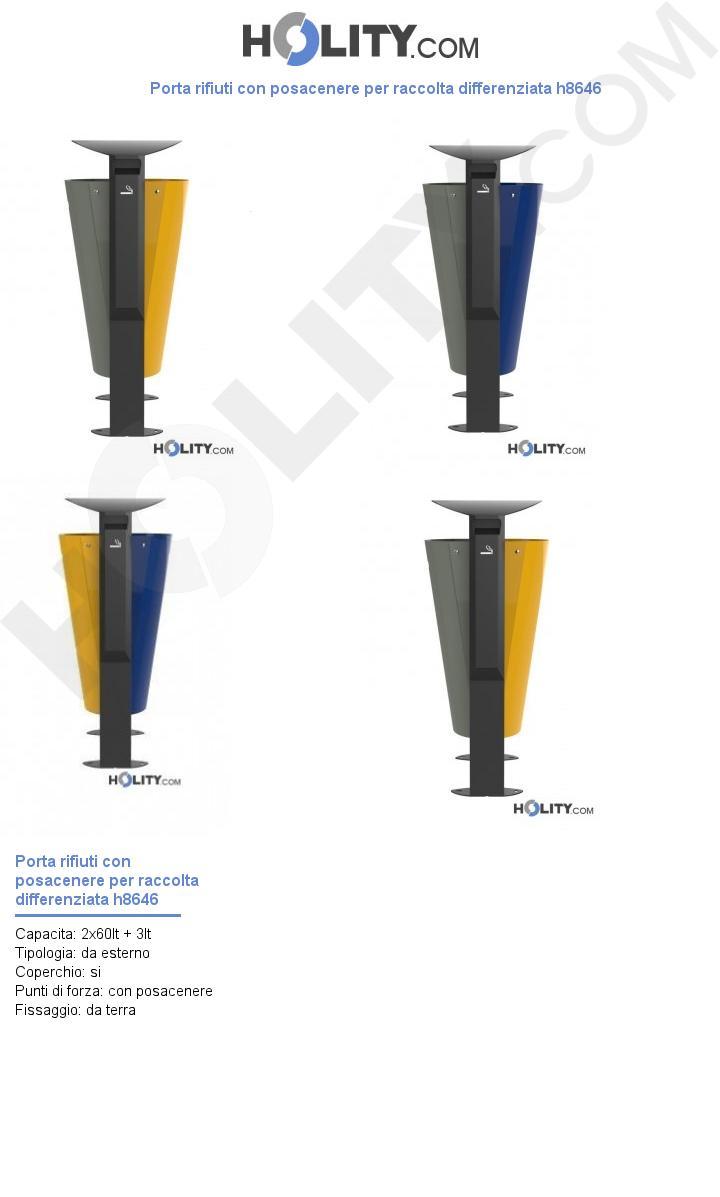 Porta rifiuti con posacenere per raccolta differenziata h8646