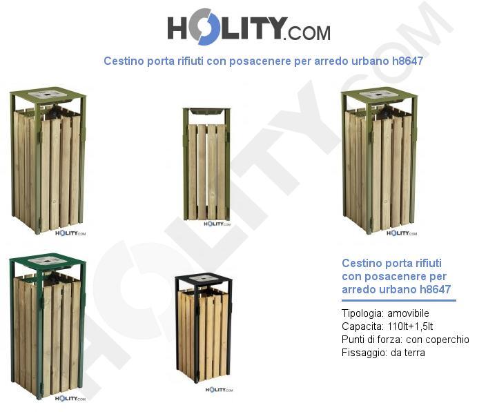 Cestino porta rifiuti con posacenere per arredo urbano h8647