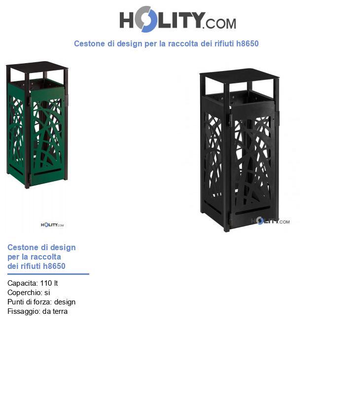 Cestone di design per la raccolta dei rifiuti h8650