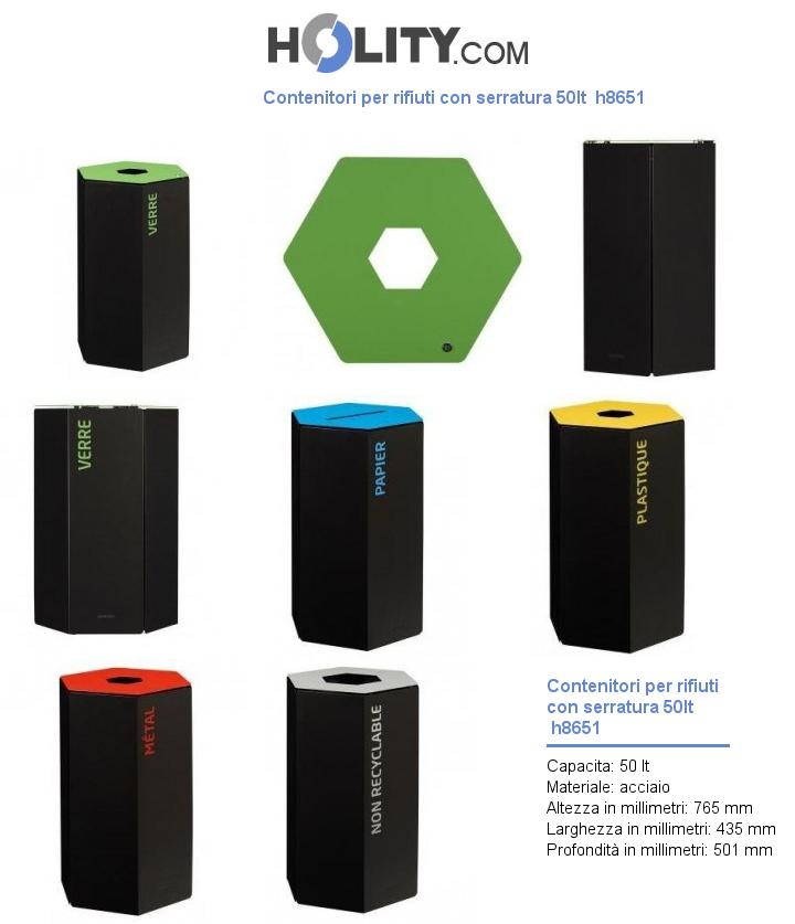 Contenitori per rifiuti con serratura 50lt  h8651