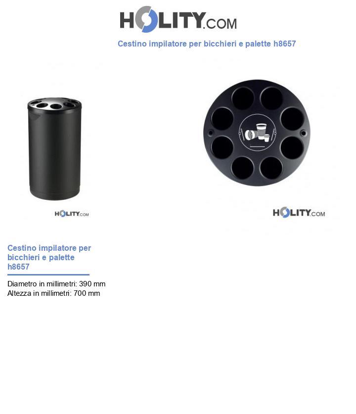 Cestino impilatore per bicchieri e palette h8657