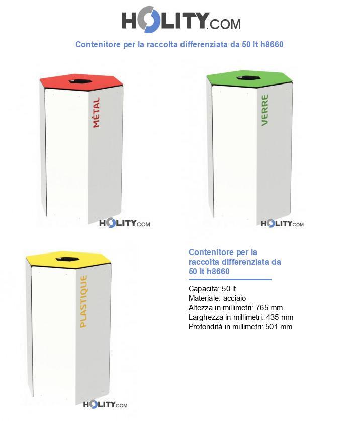 Contenitore per la raccolta differenziata da 50 lt h8660