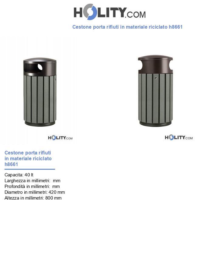 Cestone porta rifiuti in materiale riciclato h8661