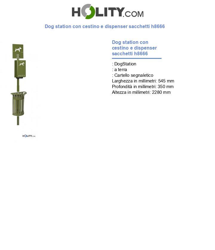 Dog station con cestino e dispenser sacchetti h8666