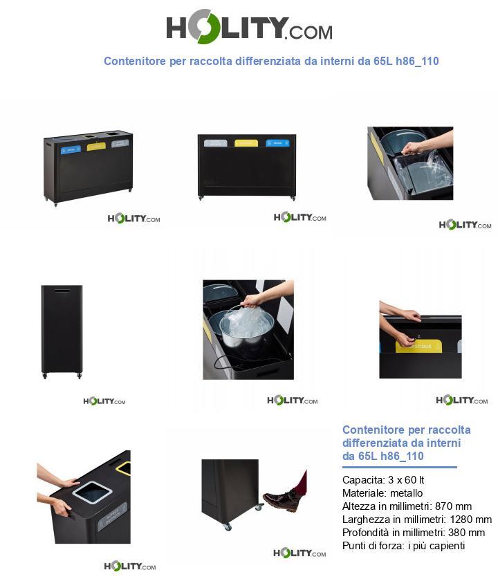 Contenitore per raccolta differenziata da interni da 65L h86_110