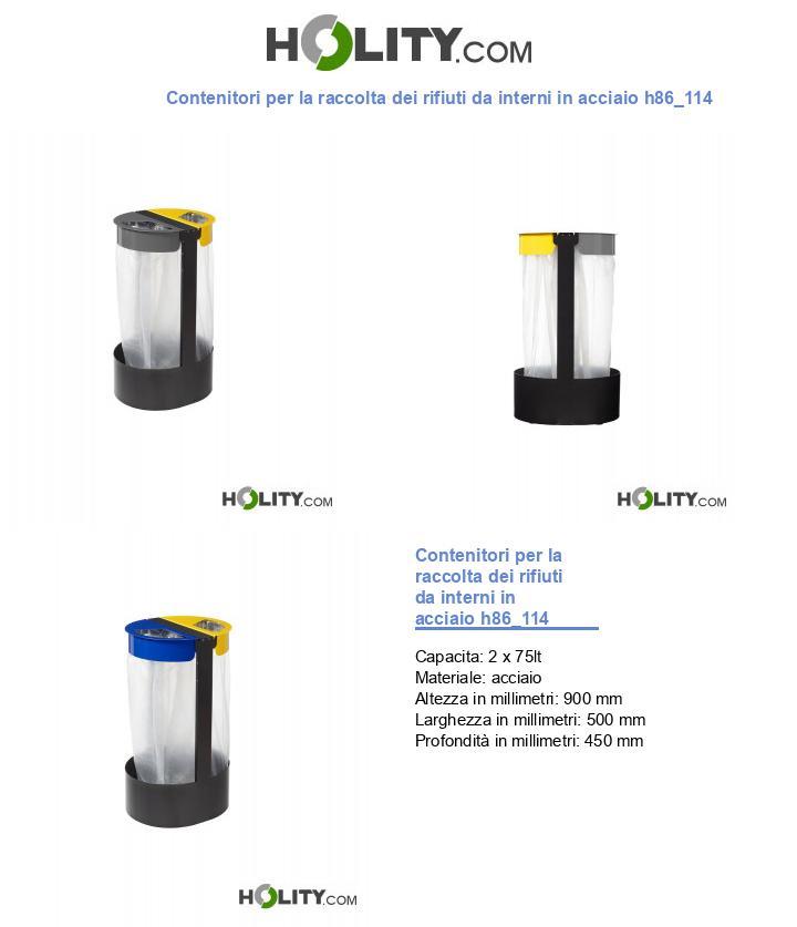 Contenitori per la raccolta dei rifiuti da interni in acciaio h86_114
