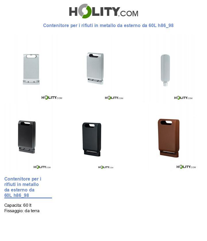 Contenitore per i rifiuti in metallo da esterno da 60L h86_98