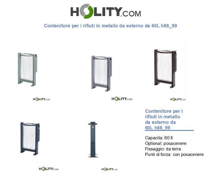 Contenitore per i rifiuti in metallo da esterno da 60L h86_99