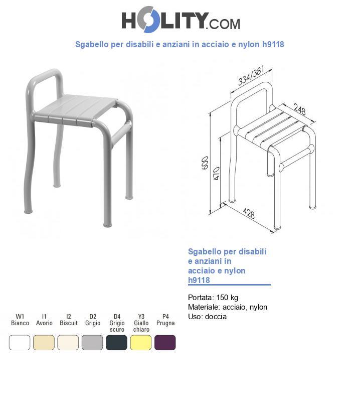 Sgabello per disabili e anziani in acciaio e nylon h9118
