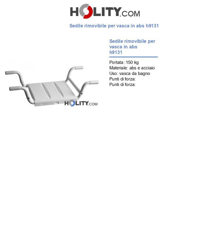 Sedile rimovibile per vasca in abs h9131