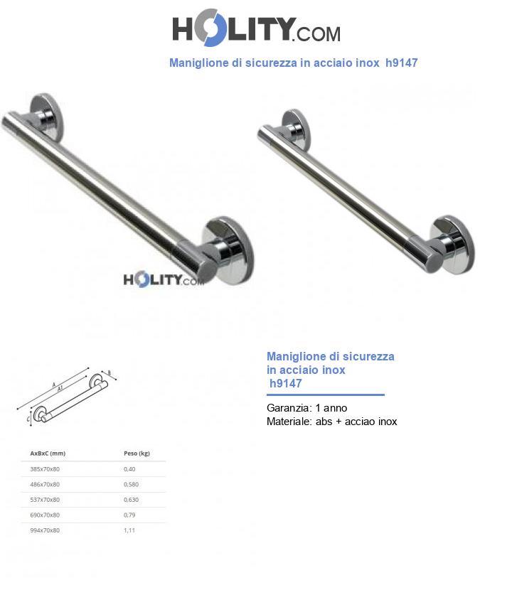 Maniglione di sicurezza in acciaio inox  h9147
