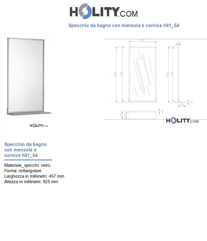 Specchio da bagno con mensola e cornice h91_54