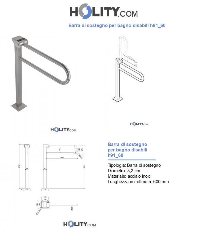 Barra di sostegno per bagno disabili h91_60