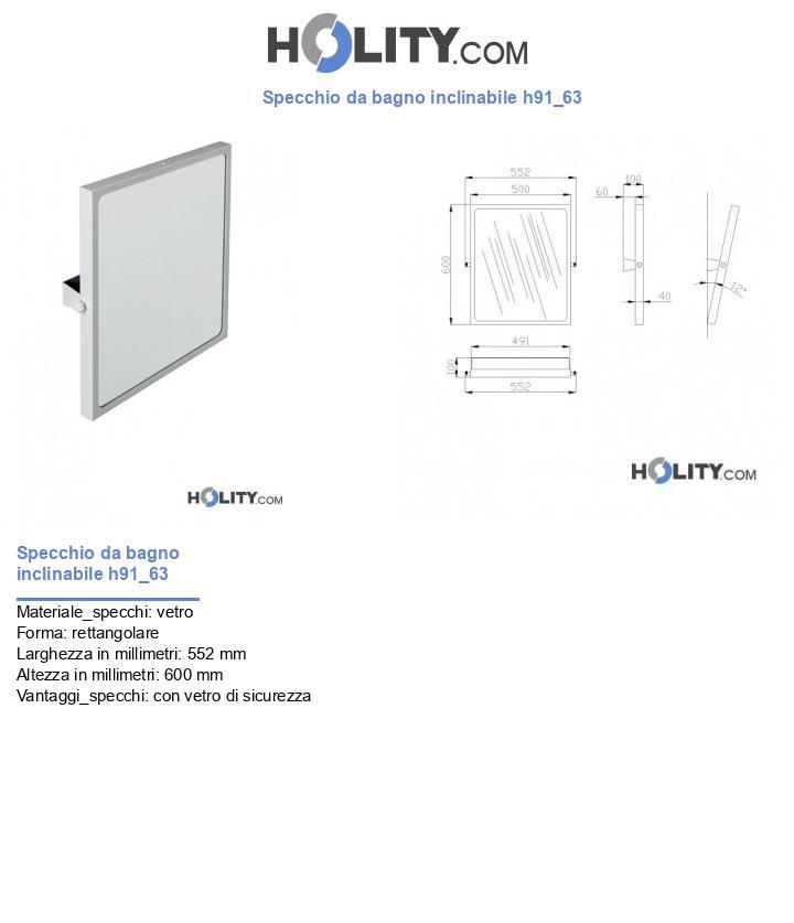Specchio da bagno inclinabile h91_63