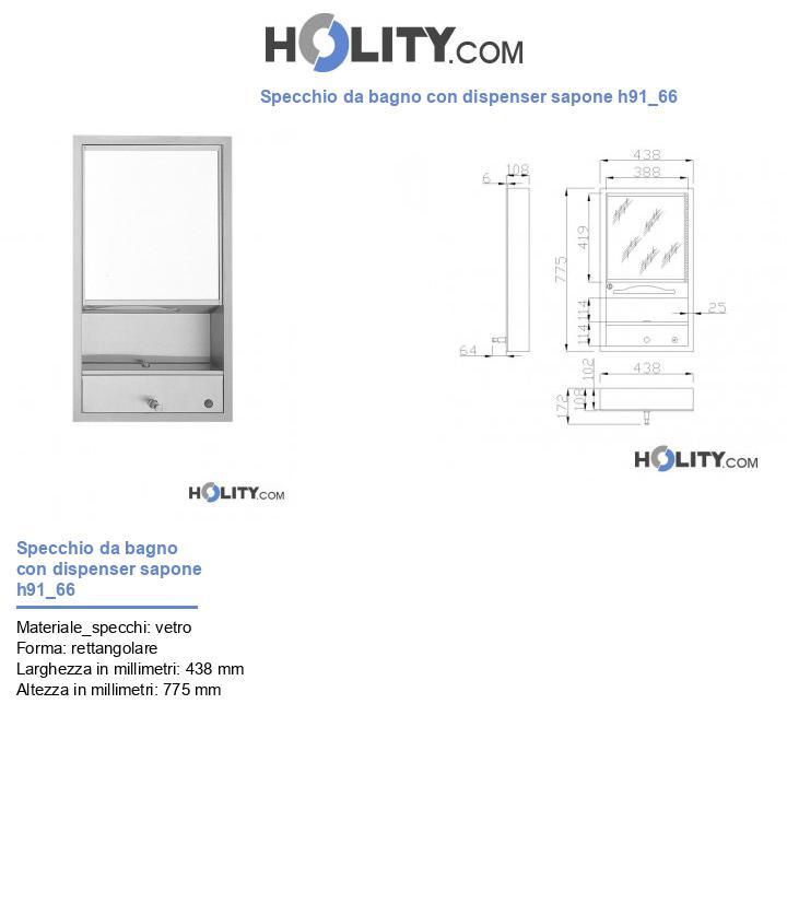 Specchio da bagno con dispenser sapone h91_66
