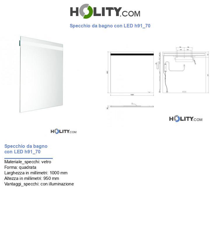 Specchio da bagno con LED h91_70