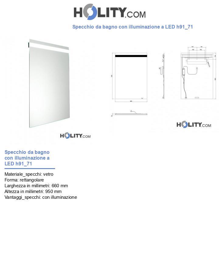 Specchio da bagno con illuminazione a LED h91_71