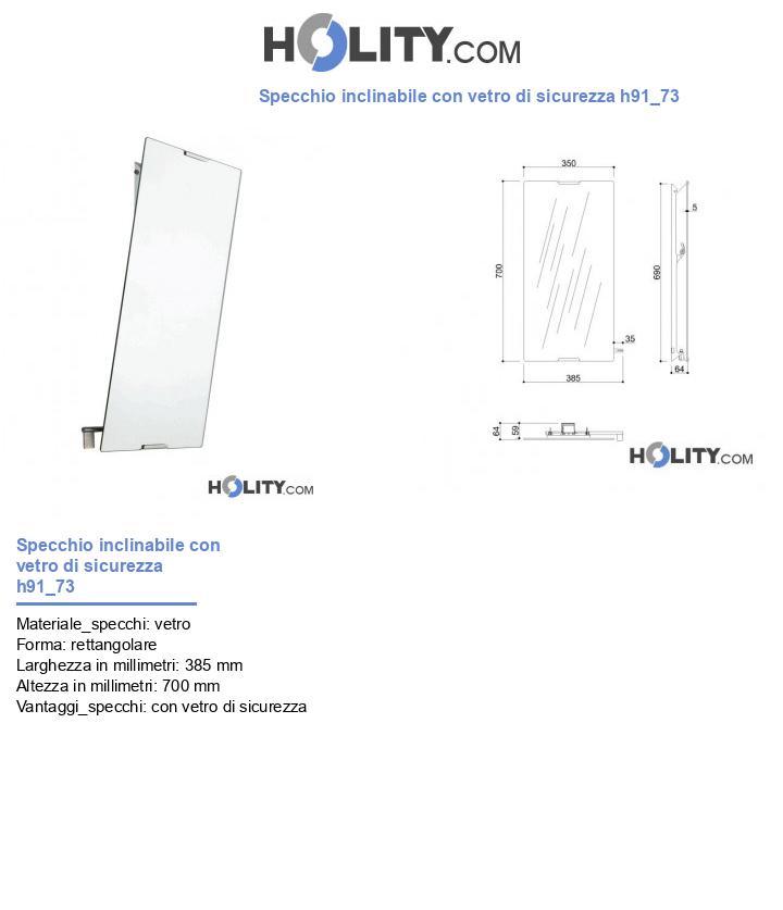 Specchio inclinabile con vetro di sicurezza h91_73