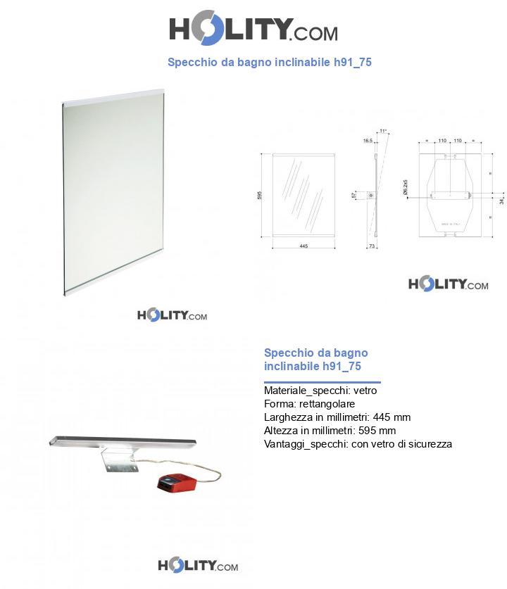 Specchio da bagno inclinabile h91_75