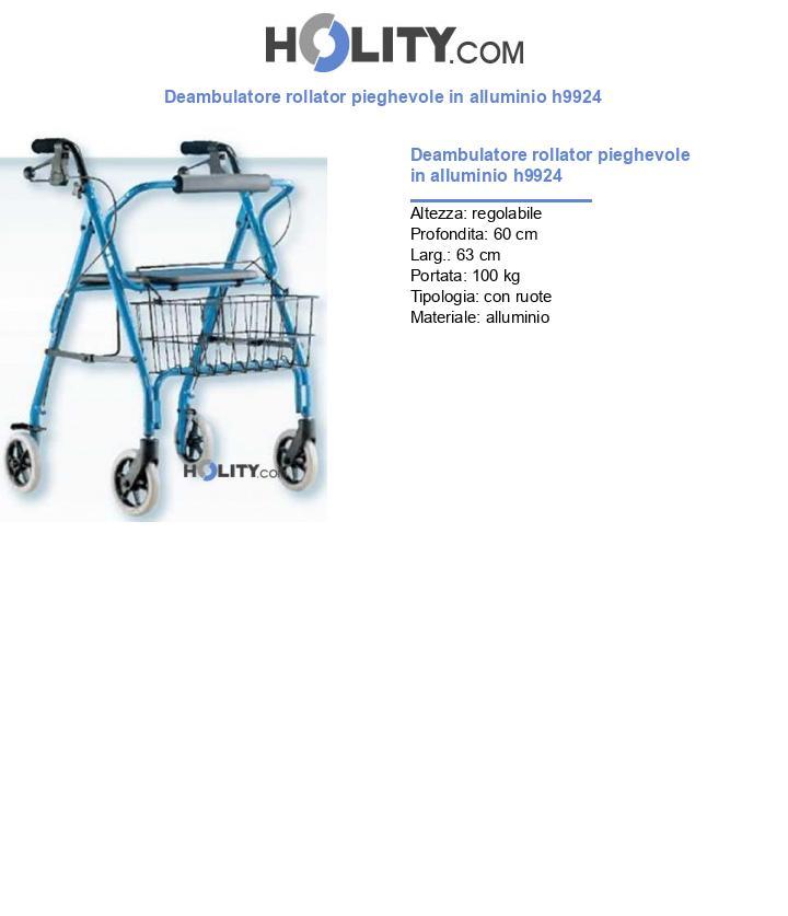 Deambulatore rollator pieghevole in alluminio h9924