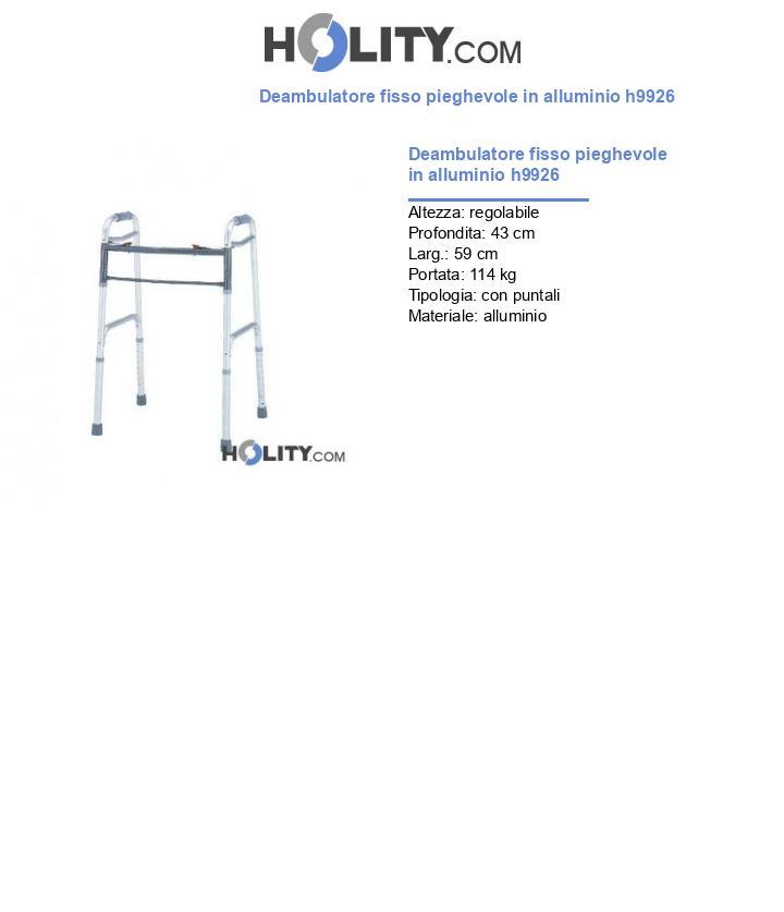 Deambulatore fisso pieghevole in alluminio h9926