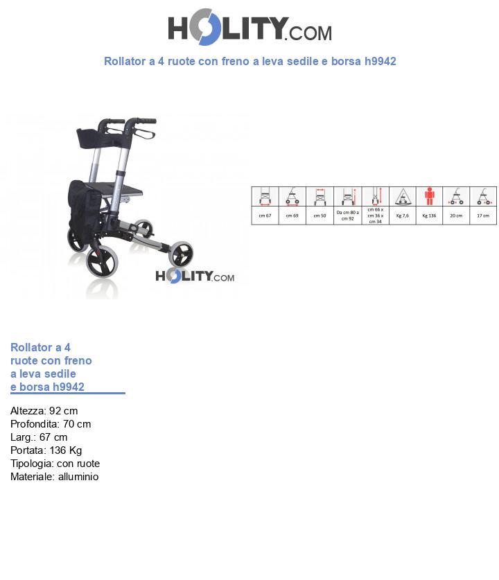 Rollator a 4 ruote con freno a leva sedile e borsa h9942