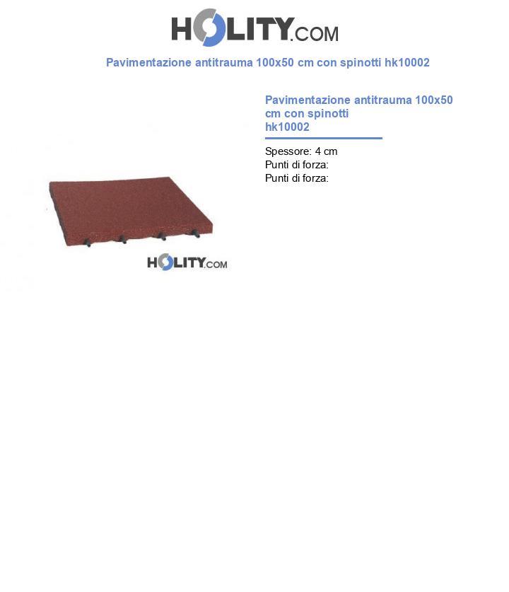Pavimentazione antitrauma 100x50 cm con spinotti hk10002