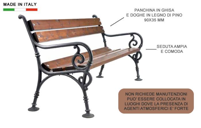 H10902 panchina in ghisa e legno