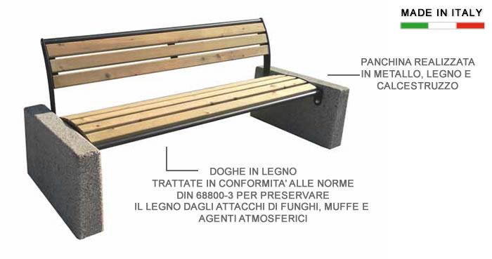H10906-Panchina con doghe in pino e lati in calcestruzzo