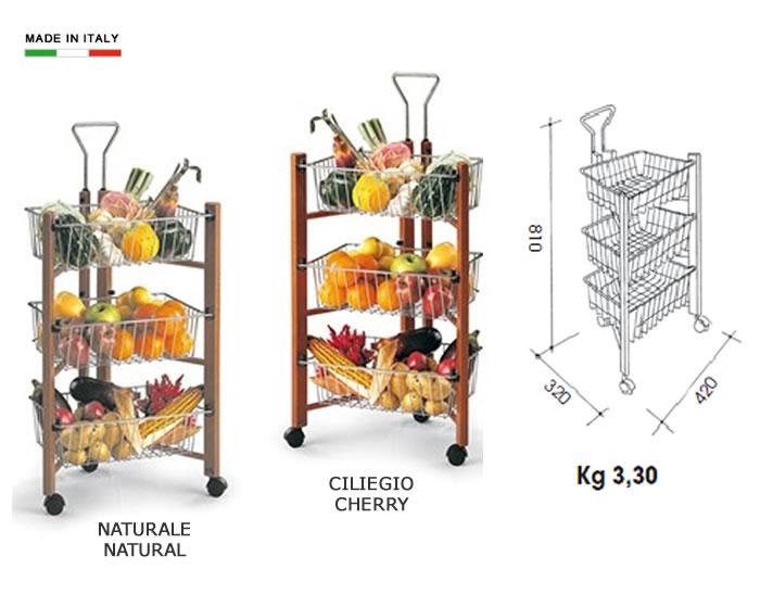 Carrello da cucina portaverdure in legno h5634