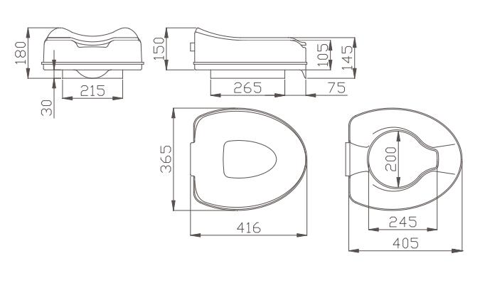 Cerchi Alza Water Con Coperchio Per Disabili E Anziani H9103