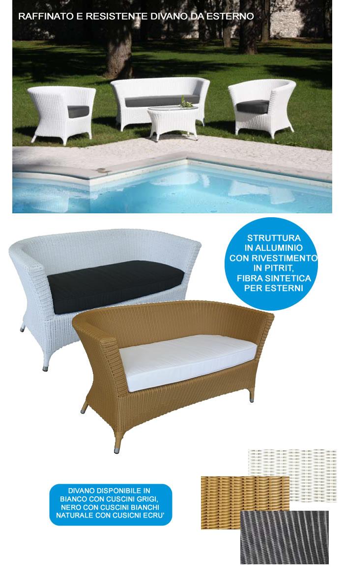 Divano per esterni in alluminio con cuscini h4604 - Cuscini divano esterno ...