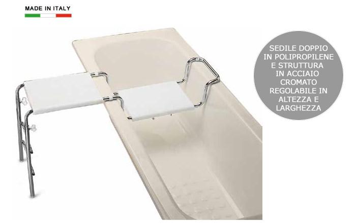 Sedile doppio per vasca da bagno in polipropilene e - Accessori bagno per anziani ...