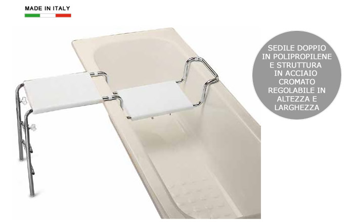 Sedile doppio per vasca da bagno in polipropilene e - Supporto per vasca da bagno ...