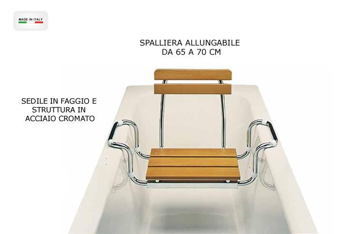 sedile per vasca bagno in legno e acciaio con spalliera h5626