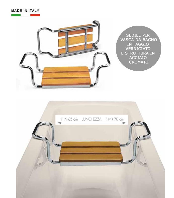 Sedile per vasca da bagno in legno e acciaio h5616 - Sedile per vasca da bagno ...