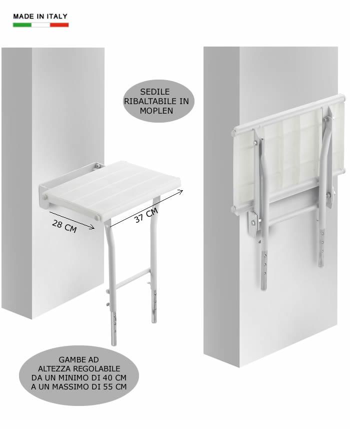 Sedile ribaltabile per doccia con gambe h5620 - Box doccia con sedile ...